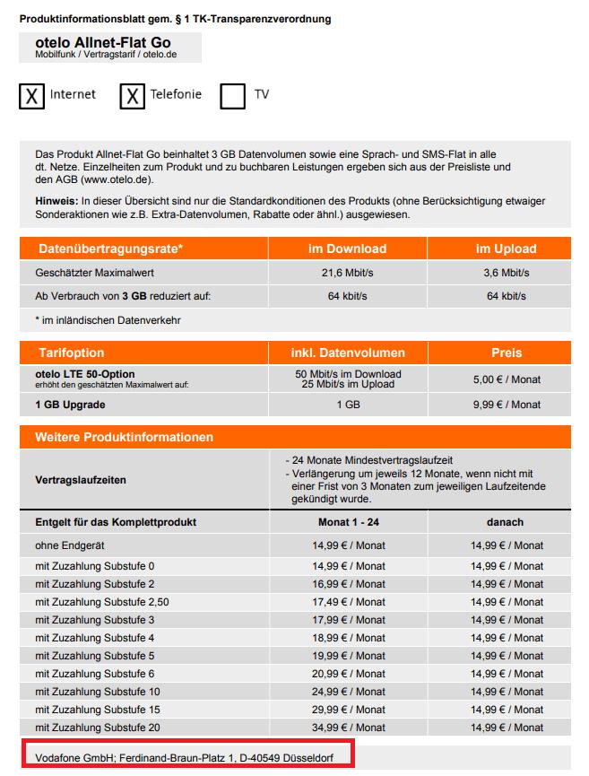 Im Produktinformationsblatt von otelo finden Kunden Angaben zum Netz.